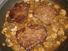 Cube Steak and mushroom onion gravy. Maybe I can try some other kind of steak too...This was so easy and yummy. I made mashed potatoes on the side it was perfect. Good ole Texas comfort food.