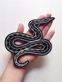Eradura Hand Embroidered Snake Patch with Black and Gold Starry Pattern