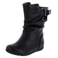 Let your little one look as stylish as you with the Izy Stretch Boot. It features a tumbled upper with slouched details and buckle accent, side zip, soft lining, padded insole, and a skid-resistant outsole. All Smartfit shoes are built with Tried and True Technology: wiggle room for toes, easy on/easy off and durable design. Manmade materials.