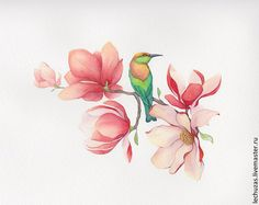 Tattoo цветы эскиз - tattoo's photo In the style Flowe Flor Magnolia, Magnolia Flower, Watercolor Flowers, Watercolor Paintings, Art Paintings, Owl Art, Bird Art, Art Floral, Illustration Blume
