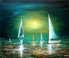 Abstract Seascape Paintings of boats on water, colorful oceans and other decorative fine art. Osnat's seascape paintings are some of the most favorable artworks by home owners, probably due to their vivid composition, flow and large size. Oil Painting Supplies, Oil Painting For Sale, Paintings For Sale, Painting Tips, Painting Art, Sailboat Art, Sailboat Painting, Landscape Art, Landscape Paintings
