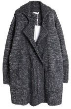 Grey Lapel Long Sleeve Pockets Cardigan Sweater $64