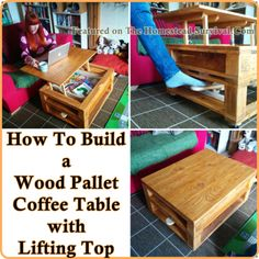 The Homestead Survival   Build a Wood Pallet Coffee Table with Lifting Top   DIY Project - Homesteading - http://thehomesteadsurvival.com