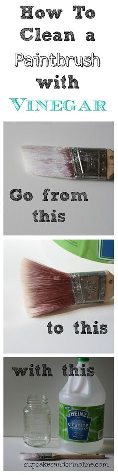 How To Clean a Dry and Crusted Paintbrush Easily with Vinegar - Cupcakes and Crinoline (scheduled via http://www.tailwindapp.com?utm_source=pinterest&utm_medium=twpin&utm_content=post1094995&utm_campaign=scheduler_attribution)