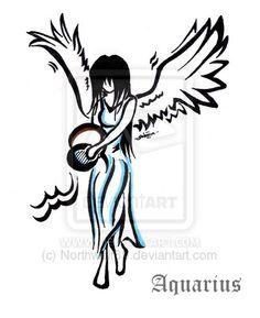 Angel aquarius tattoo design by Northwolf89