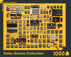 Video Games Collection is a 1000 piece jigsaw puzzle by New York Puzzle Co. featuring a collection of Atari and Nintendo Games. Vintage Videos, Vintage Video Games, New Video Games, Retro Videos, Retro Video Games, Video Game Art, Retro Games, Florence Knoll, Jim Golden