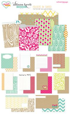 Websters Pages Allison Kreft Sweet Notes Collection 3x4 and 4x6 Cards and mini folders. Looks great for Project Life.