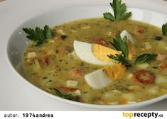The kitchen is always open .: Potato soup with eggs and sausage (Slovak) Potato Soup, Cheeseburger Chowder, Thai Red Curry, Sausage, Food And Drink, Potatoes, Ethnic Recipes, Soups, Eggs