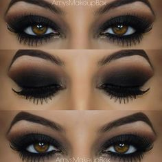 This look is the dark seductive smokey eye, I try these colours for my everyday look. Let me tell you it works! Brings your beautiful eyes to the point that you're satisfied. This is my ideal.