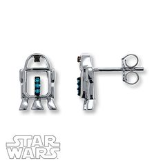 These stylized earrings are crafted of sterling silver with accents of blue and black diamonds. The Star Wars™ earrings secure with friction backs. Blue and black diamonds are treated to permanently create their intense colors. Star Wars Ring, Star Wars Love, Star War 3, Star Wars Jewelry, Filet Crochet, Tiffany & Co., Fandom Jewelry, The Bling Ring, Star Wars Merchandise