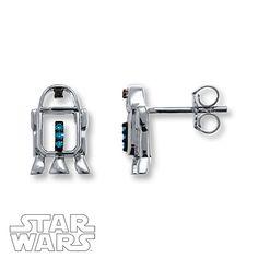 Star Wars R2-D2 Earrings Diamond Accents Sterling Silver