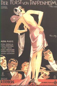 Movie poster by Josef Fenneker (1895-1956), 1927, Der Fürst von Pappenheim (The Duke of Pappenheim). (G)