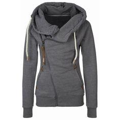 Casual Style Deep Gray Full Zip Hoodie - Womens