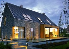 Projekt domu Atrakcyjny 1 157,10 m² - koszt budowy - EXTRADOM House Designs Ireland, Grand Designs, Home Fashion, Sweet Home, Cabin, Mansions, House Styles, Pictures, Home Decor