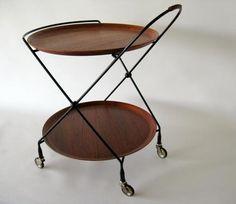 Swedish Vintage Modern Teak Folding Bar / Serving Cart Tea Trolley (ca.1950s)
