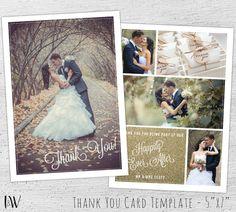 Wedding Thank You Cards Photo, Photoshop Template, Wedding Photography Marketing, Thank You Card, Wedding Thank You Postcards - 03-001-PV