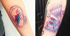 """A common question all anaglyph tattooers hear is, ""will the 3D glasses work?"" In short: no, they won't. While a single red or blue lens can make one image stand out more than the other, the..."