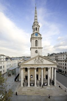 St. Martins-in-the-Fields is located on the north east corner of Trafalgar Square in London. http://www.aboutbritain.com/TrafalgarSquare.htm