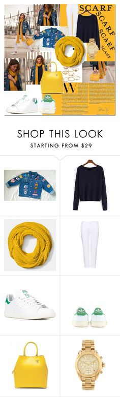 """""""It's a Wrap! Fun Fall Scarves"""" by maria-charp ❤ liked on Polyvore featuring Coach, J Brand, adidas, Banana Republic, Michael Kors and Mudd"""