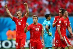 Xherdan Shaqiri of Switzerland celebrates scoring his team's third...