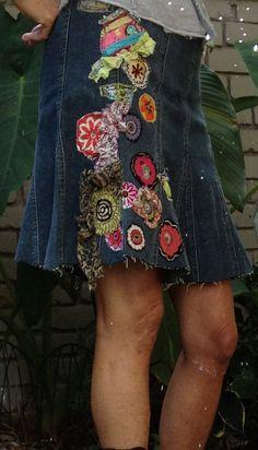 denim hippie jean skirt recycled patchwork applique embellished