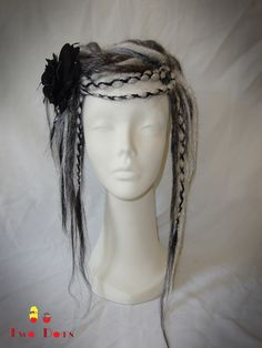 For Festivals, Parties, Gothic, Lolita, Cyber, Steampunk, Hippies, Bohemian, Dread Falls, Dreadlocks On Elastic. (£30.00)  The item is designed and made by myself.  Dreads are attached to elastic and very easy to put as ponytail and hair up.  You can style in many different ways and very easy to do.  Colour - Black, White, Grey, Silver  All the falls can made it order for colour, length and quantities you would like.  Item is on Etsy and Ebay store