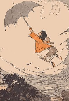 """And the wind picked up Lily Etta"" from ""Story Hour Readers: Book II"" by Ida Coe and Alice Christie, illustrated by Maginel Wright Enright, 1914."