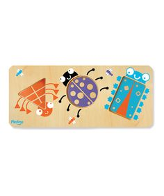 Construct a buzzing and bustling world of bugs with this puzzle set. Featuring 12 pieces with surprise pictures on either side, it develops little learners' creative problem-solving and motor skills for an entertaining challenge. Includes puzzle board and three pieces15.75'' W x 13'' H x 1'' DPlywood