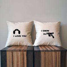 Adorable! Matching Star Wars Han and Leia throw pillows