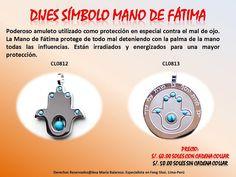 Poderoso amuleto utilizado como protección en especial contra el mal de ojo. La Mano de Fátima protege de todo mal deteniendo con la palma de la mano todas las influencias.