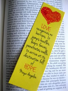 Love Bookmark Red and Yellow Heart Maya Angelou by ElegantQuirk on etsy.