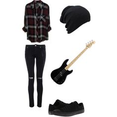 This is perfect for me - Plaid shirt, ripped black jeans, A BEANIE, and the bass :3 -R0411