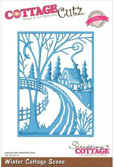 CottageCutz Winter Cottage Scene Die. Winter themed CottageCutz craft die featuring a cottage. CottageCutz are thin metal dies, like a QuicKutz. They are easy-t