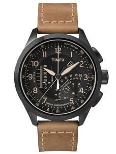Shop for Timex Men's Black/Tan Leather Strap Intelligent Quartz Linear Chronograph Watch - brown. Get free delivery On EVERYTHING* Overstock - Your Online Watches Store! Sport Watches, Cool Watches, Watches For Men, Wrist Watches, Brown Leather Strap Watch, Tan Leather, Men's Accessories, Daniel Wellington, Timex Watches