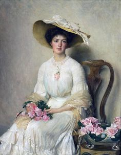 John Henry Frederick Bacon (1868-1914) =) Young lady with roses