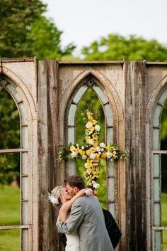 "Old church windows! fun idea for a wedding ceremony back drop. ""Outdoor-Ceremony"""
