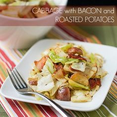 This delicious sautéed Cabbage with Bacon and Roasted Potatoes is easy to make and hard to stop eating. A great way to prepare cabbage! Cabbage And Bacon, Cabbage Recipes, Potato Recipes, Vegetable Recipes, Pork Recipes, Cabbage Meals, Baked Cabbage, Sauteed Cabbage, Green Cabbage