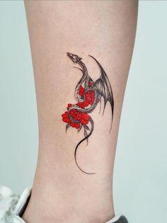 Black Dragon Tattoo, Small Dragon Tattoos, Dragon Tattoo For Women, Dragon Tattoo Designs, Small Tattoos, Dragon Tattoo On Hand, Dragon Tattoo With Flowers, Dragon Tattoo Forearm, Watercolor Dragon Tattoo