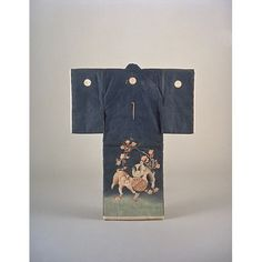 Child kimono with Puppies and Plum Blossoms on Blue Ground Period, Meiji Period, Kyoto National Museum