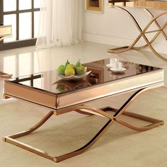 Metal can never goes wrong and this glamorous coffee table is a prime example. The beautiful X-shaped curve creates a unique leg design that steadily upholds the smoked mirror top while accentuating the glistening copper brown finish of the metal tubing.