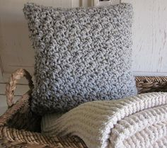 Chunky gray marled wool hand crocheted pillow by PeanutTreeDesigns, $38.00