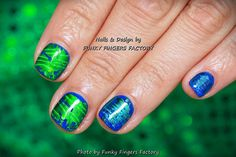Gelish with Green and Blue Foils manicure by FUNKY FINGERS FACTORY