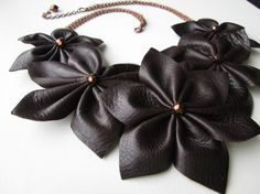 SALE Statement Leather Flower Necklace Wearable Art by garbanke, $35.00