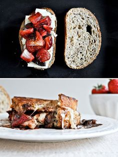Roasted Strawberries & Brie Grilled Cheese | 12 Mouthwatering Grilled Cheese Recipes  This actually has 12 different grilled cheese recipies (nacho, superfood, cucumber & dill, chicken parm, Canadian pizza, jalapeño & cornbread, chicken & waffle....)