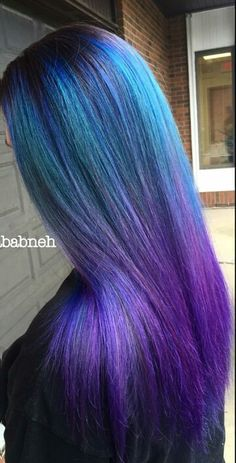 Blue purple ombre dyed hair color @noradababneh