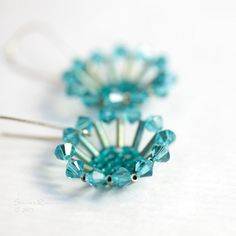 Flower or lychen??  Oriental Flower Teal Earrings Blue Swarovski by SarahRobinL