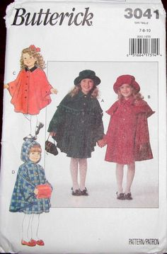Easy Vintage Butterick Sewing Pattern 3041 Girls Tween Cape with Hood, Capelet and Hat Size 7 8 10 Chest Bust 26 27 28 Uncut Factory Folds by RosesPatternsEtc on Etsy