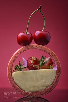 Cherry dessert by khoroshayev IFTTT Zumbo's Just Desserts, Cherry Desserts, Small Desserts, French Desserts, Mini Desserts, Plated Desserts, Dessert Recipes, Gourmet Desserts, Food Plating Techniques