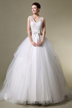 Princess Ball Gown Illusion straps Tulle Wedding Dress With Bow Sash JSWD0213