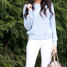 H&M Powder Blue Knit Pullover Sweater Super cute just too short for my liking  Photo credit: Amazing Posh sister @pailsea + Pinterest.com H&M Sweaters Crew & Scoop Necks